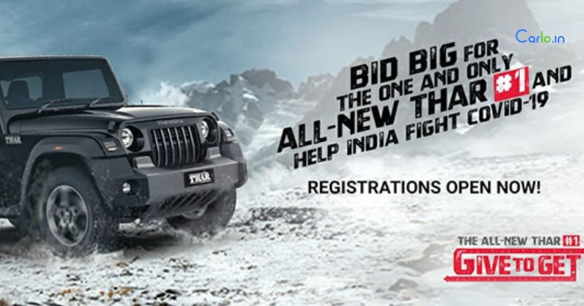 Mahindra Thar#1 to be auctioned online